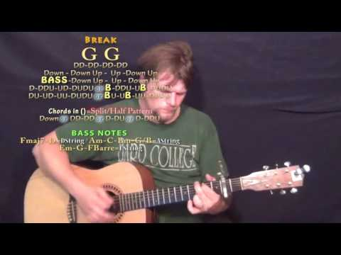 A Little More Summertime (Jason Aldean) Guitar Lesson Chord Chart - Capo 2nd - G Em C D Am