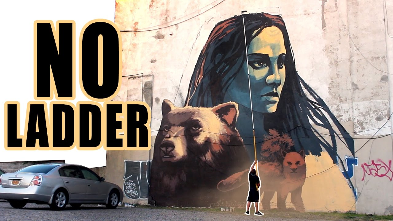 Huge street art mural with only a roller nyc
