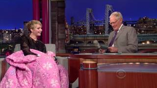 Funny Jennifer Lawrence on Letterman Asks For A Blanket & Shows Brother Hunger Games
