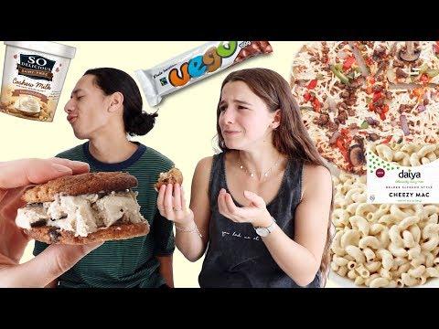 VEGAN JUNK FOOD TASTE TEST | PIZZA, MAC & CHEESE, ICE CREAM..