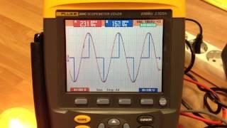 regulador de luz con triac visionado ondas in out y valores rms en osciloscopio