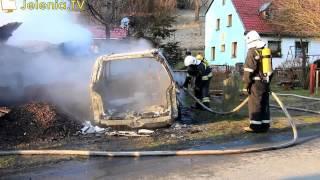 Piechowice - spłonęły dwa samochody osobowe