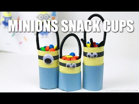 Easy and CUTE Minions Snack Cups Using Empty Paper Towel Tubes
