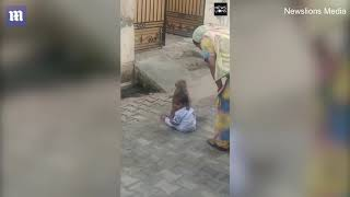 Monkey forces toddler to play with him after kidnapping him