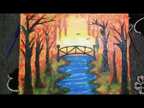 Step by step Autumn scenery canvas landscape painting