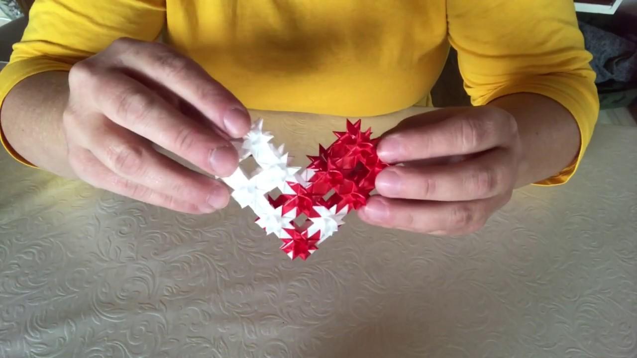 Flet er julehjerte - julehjerte af flettede stjerner - hjemmelavet julepynt