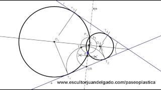 Circunferencias tangentes a dos rectas pasando por un punto