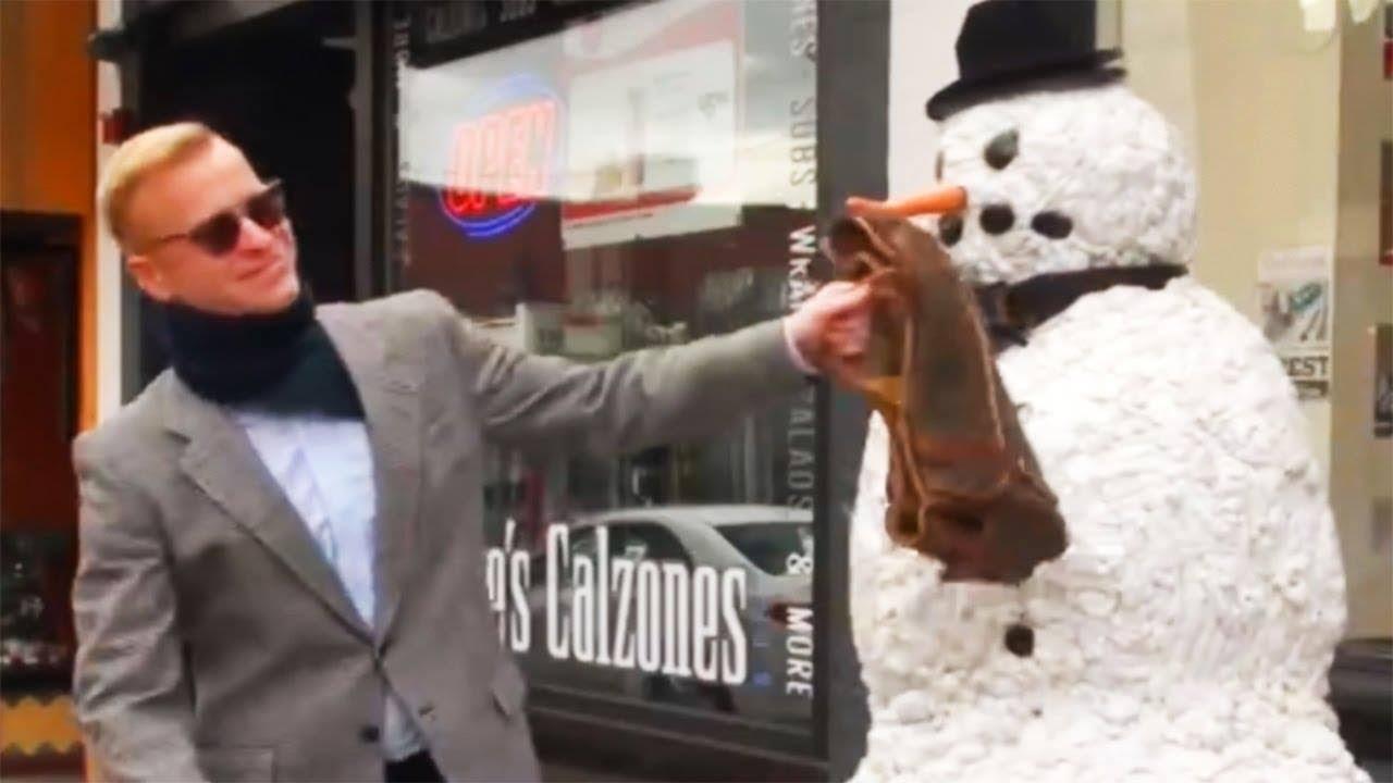 Scary Snowman Pranks Men