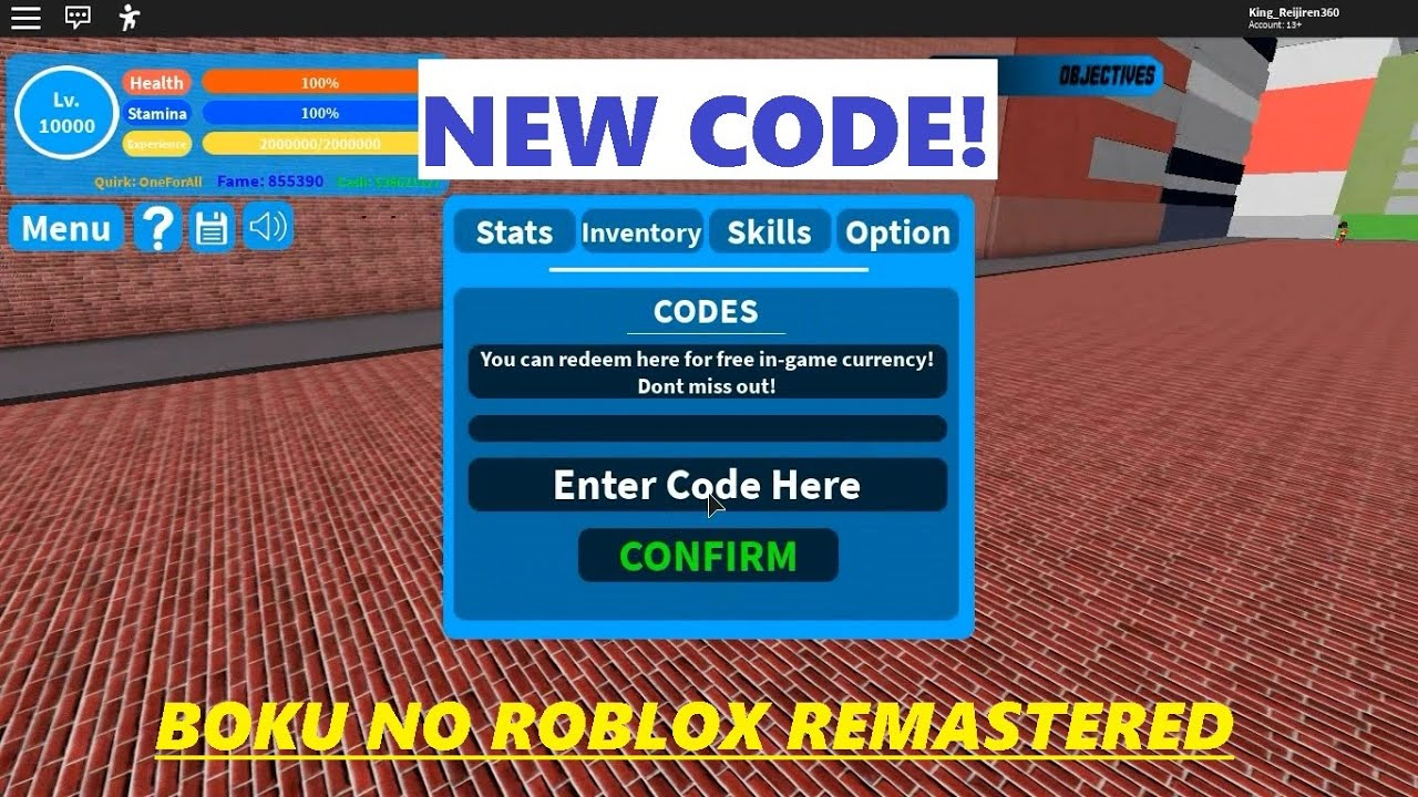 New Code Boku No Roblox Roblox Youtube