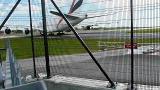 Airbus A380 taxiing 100metres away, feel the blast