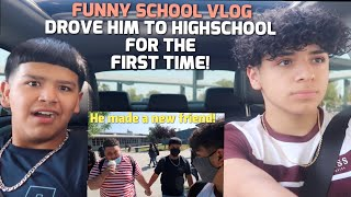 TAKING MY LIL BROTHER TO SCHOOL WITH ME |Vlog, First day of school
