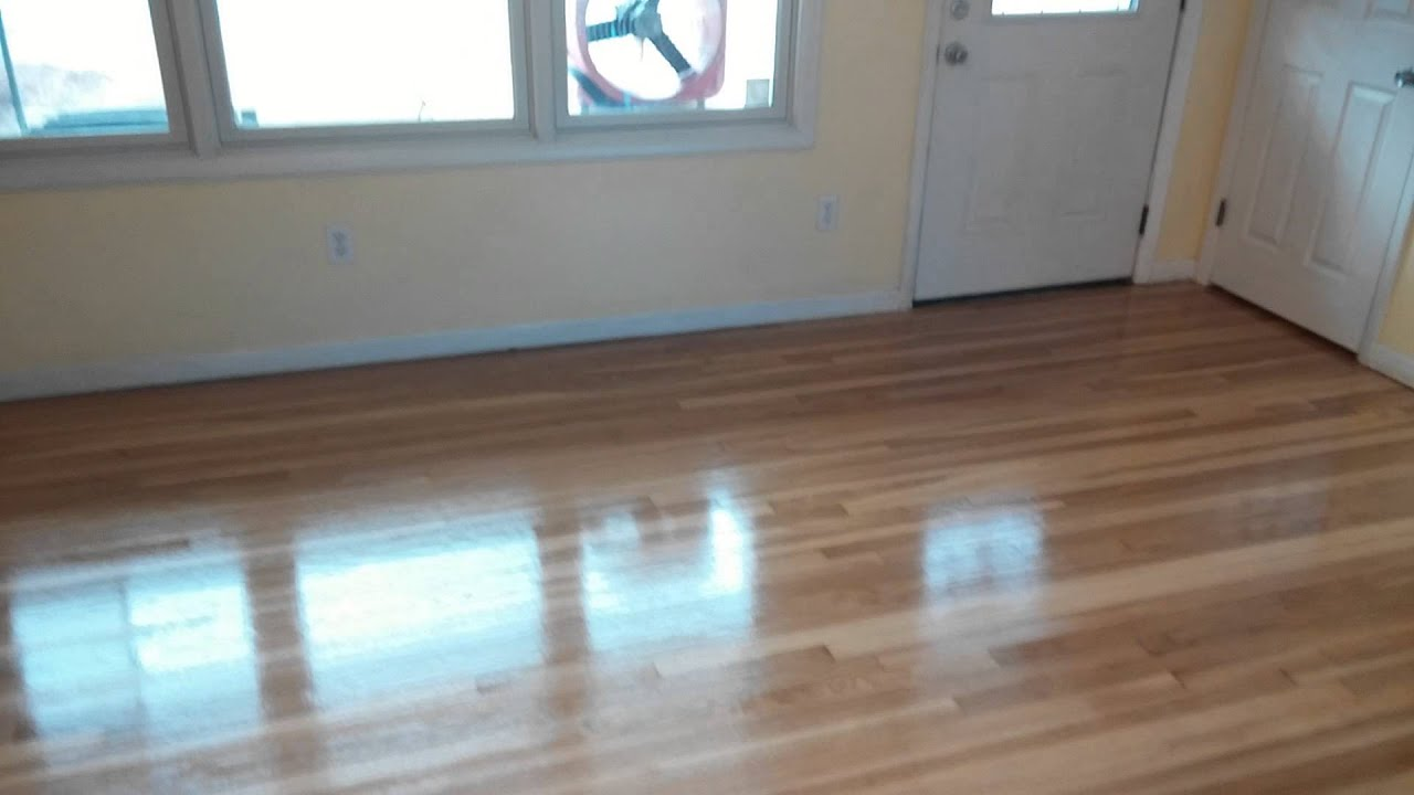 Hardwood Floor Sanding 1st Coat Of Polyurethane Youtube