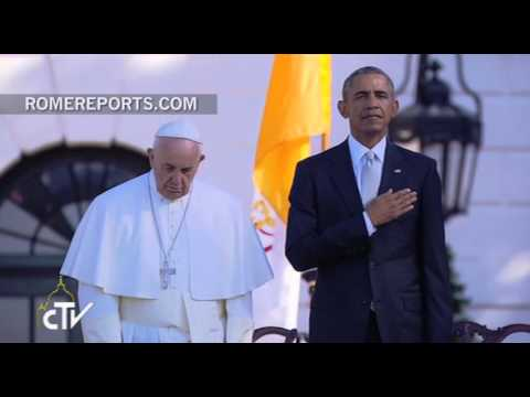 Was the Pope praying during the U.S. national anthem?