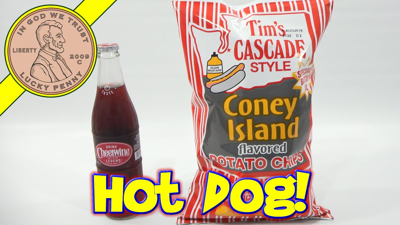 Tims Coney Island Hot Dog Potato Chips Cheerwine Cherry Soda