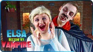 ♥ Frozen Elsa Bitten by VAMPIRE! Awesome Halloween Story Superheroes IRL