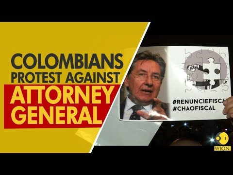 Colombia: Demonstrators protest against the Attorney General in Bogota