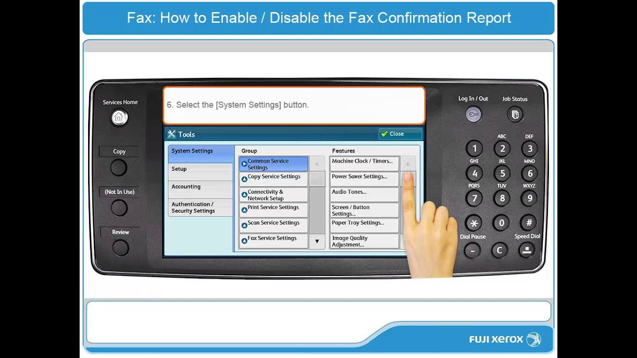 how to enable disable the fax confirmation report apeosport v