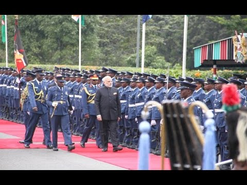PM Modi at Ceremonial Welcome in State House, Nairobi, Kenya