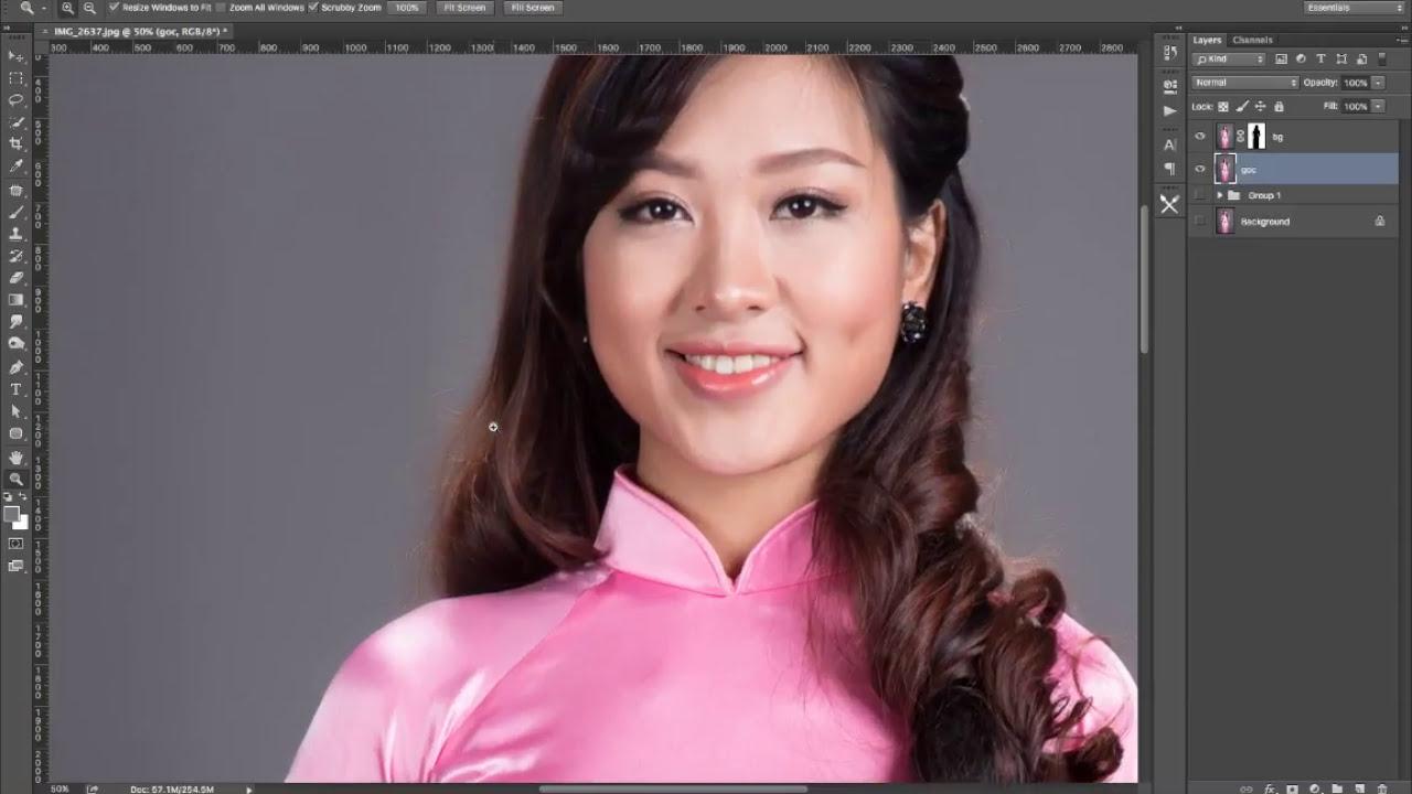 Học Photoshop Cơ bản -  Làm mịn nền phông vải khi chụp ảnh studio   Now Academy