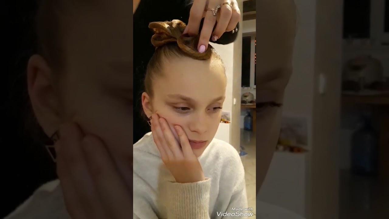 Прическа для бальных танцев)) - YouTube
