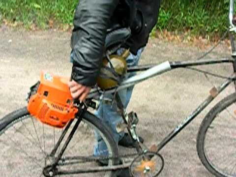 видео: Велосипед с бензопилой (bicycle with a chainsaw)