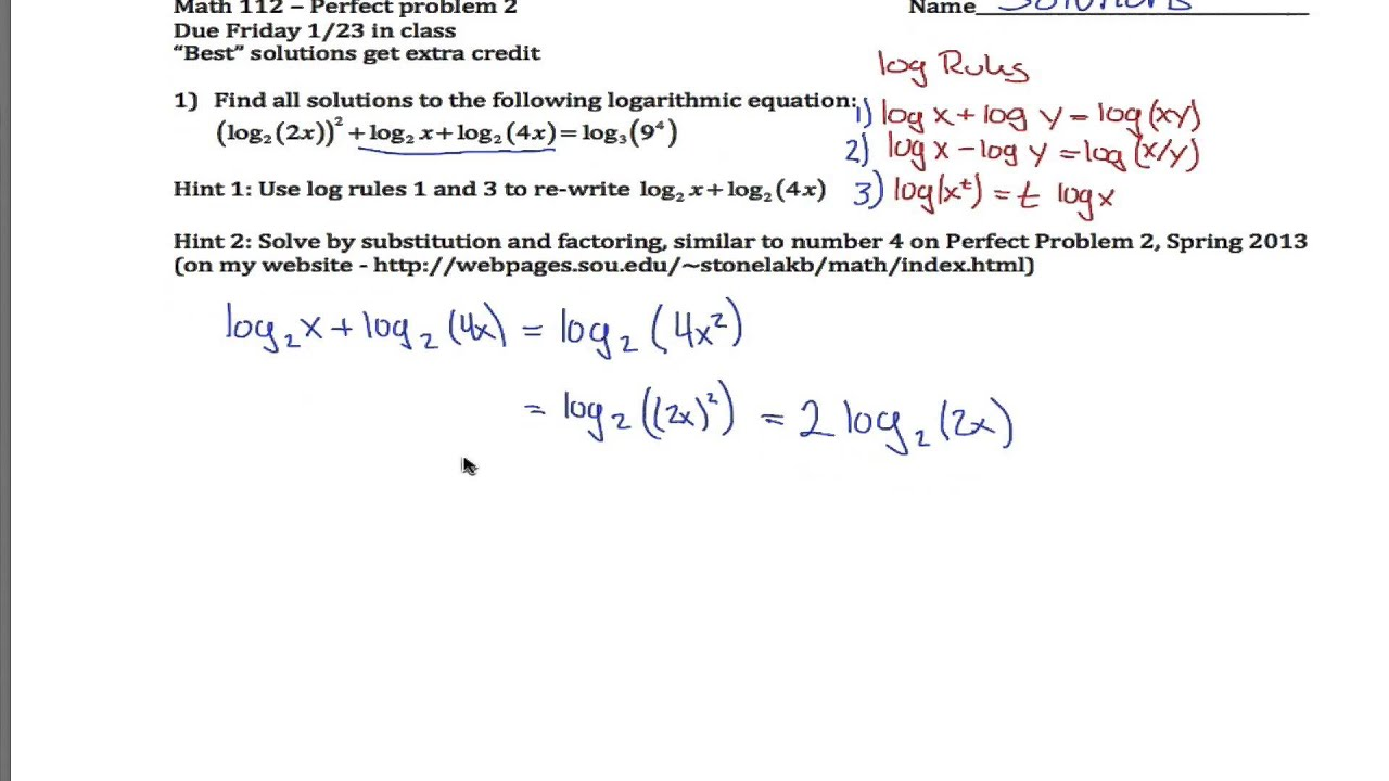 Worksheets Solving Logarithmic Equations Worksheet hard log equation exmple youtube exmple