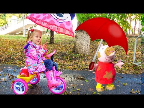 Peppa Pig playing in the park Rain Rain Go Away Song Nursery Rhymes Songs for children and toddlers