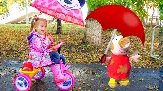 Funny Baby playing in the park with Peppa Toy / Rain Rain Go Away Song thumbnail