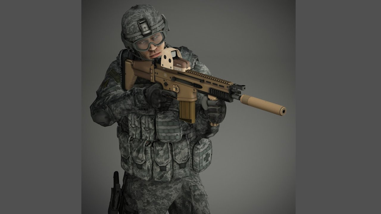 Futuristic Soldier Girl Wallpaper Us Soldier 3d Model Set 1 3ds Max Youtube