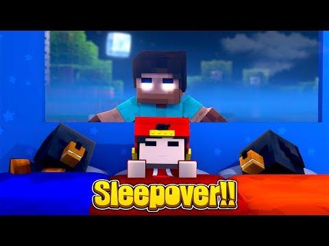 Minecraft SLEEPOVER - HEROBRINE HAS A SLEEPOVER WITH THE LITTLE CLUB BABIES!!!