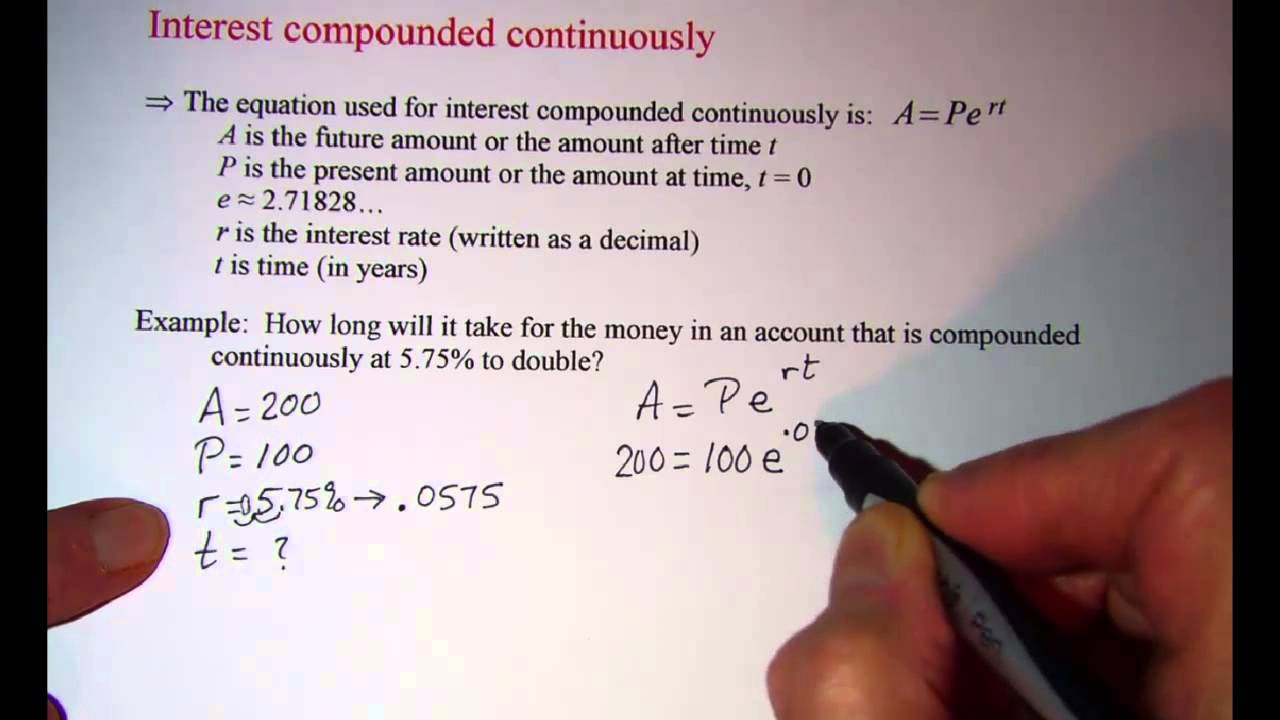 Interest Compounded Continuously