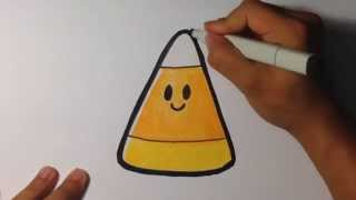 How to Draw Cute Candy Corn - Halloween Drawings