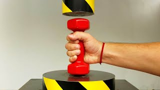 EXPERIMENT HYDRAULIC PRESS 100 TON vs STEEL Dumbbell