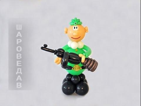 Солдат с автоматом из шаров / Soldier with tommy-gun from balloons