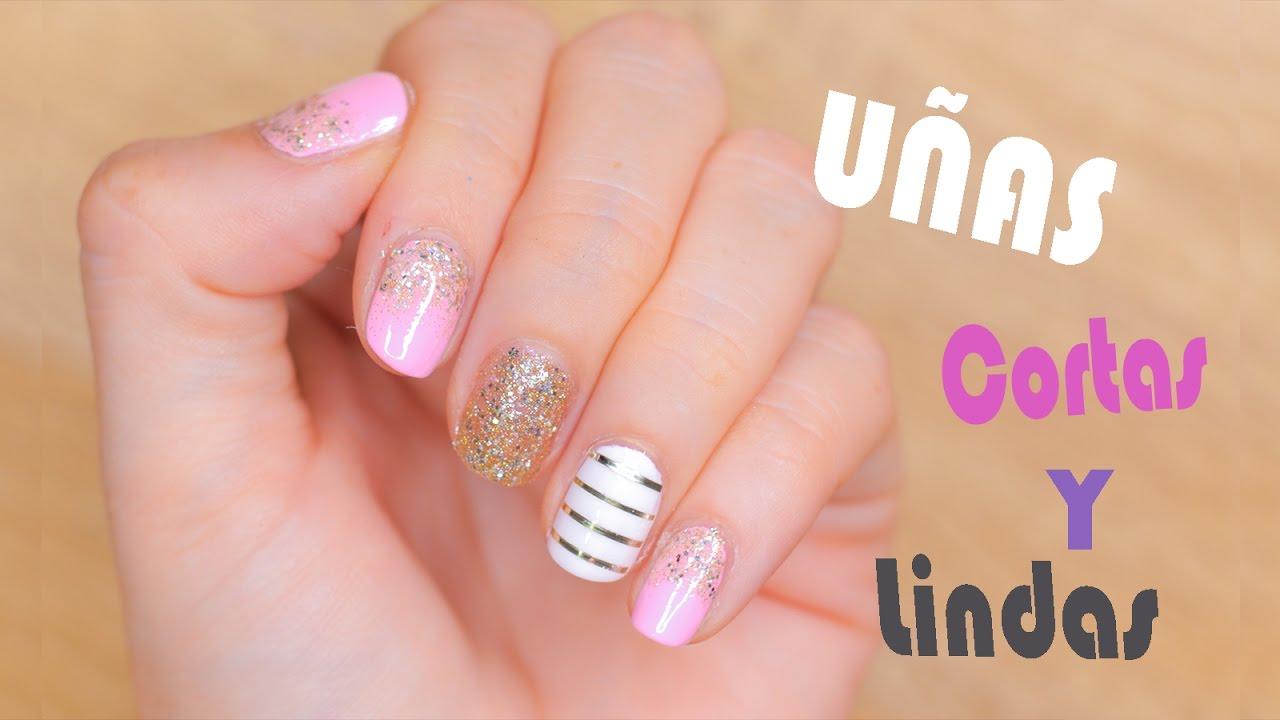 Uñas Lindas con Brillantes! | Nail Art | Uñas Cortas | Manicure ...