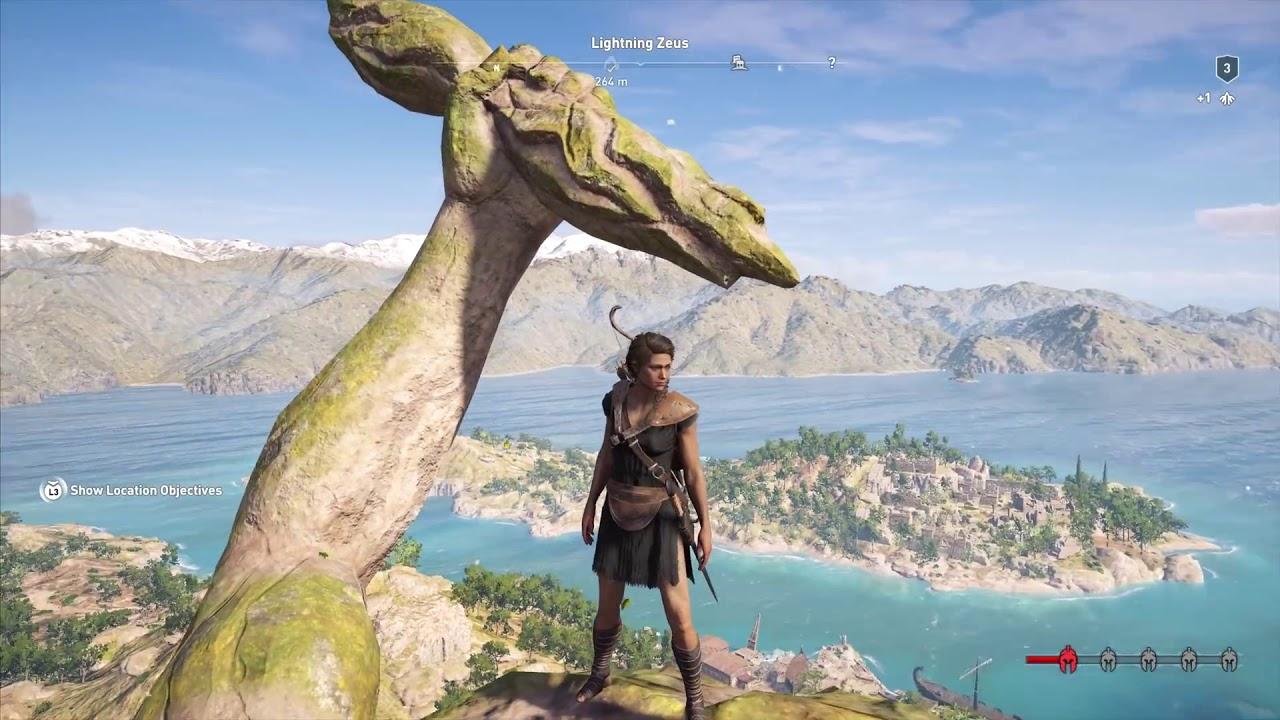 Assassins Creed Odyssey - Climbing Lightning Zeus Statue
