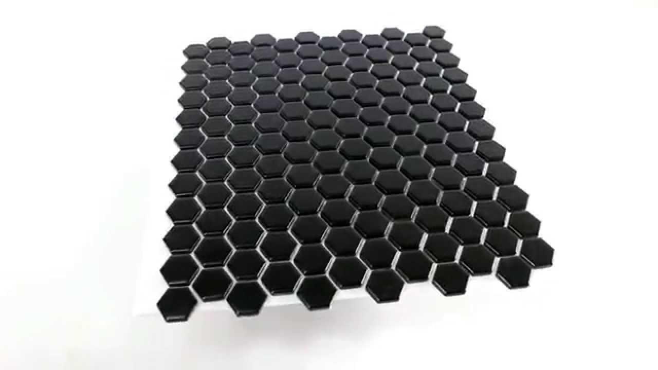 Octagon Keramik Mosaik Fliesen Waben Schwarz Matt YouTube - Mosaik fliesen schwarz matt
