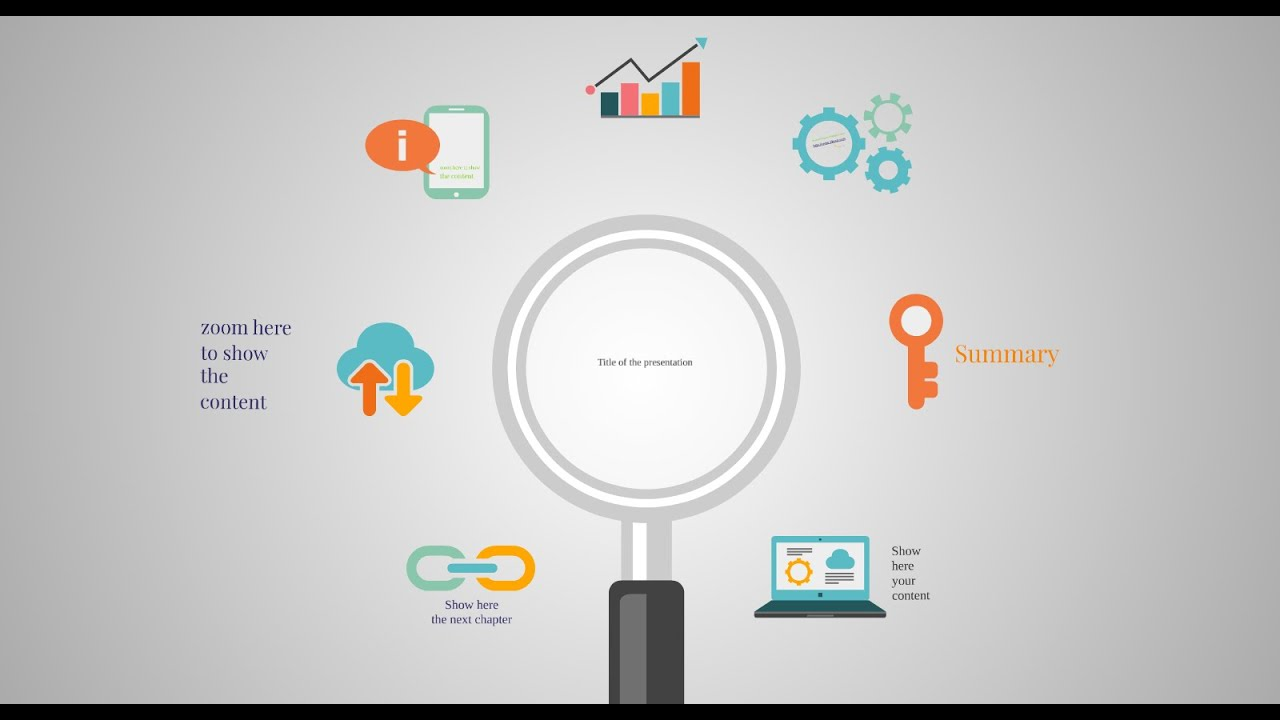 infographic prezi template with magnifier