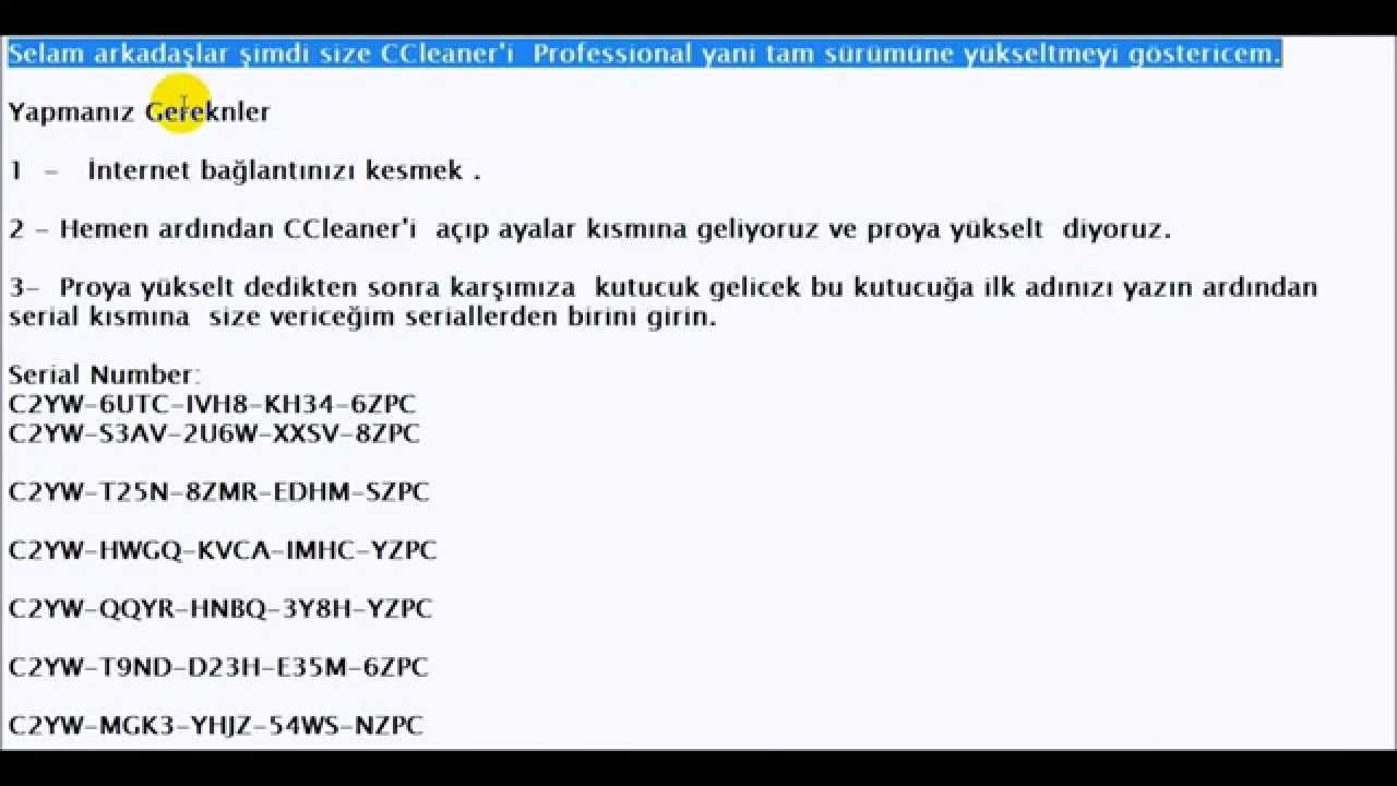 CCleaner Professional Yükseltme (serial key) 2017 - YouTube