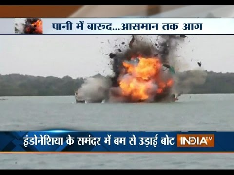 Indonesia Navy Blows Up a Fishing Vessel in Indonesian Sea