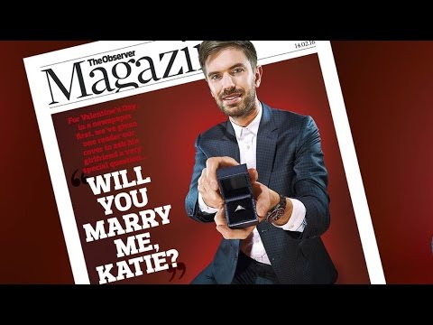 Valentine's Day proposal on cover of Observer Magazine