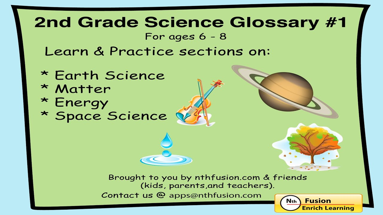 2nd Grade Science Glossary #1 Learn And Practice Worksheets For Home Use And In School