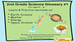 2nd Grade Science Glossary #1: Learn and Practice Worksheets for home use and in school classrooms