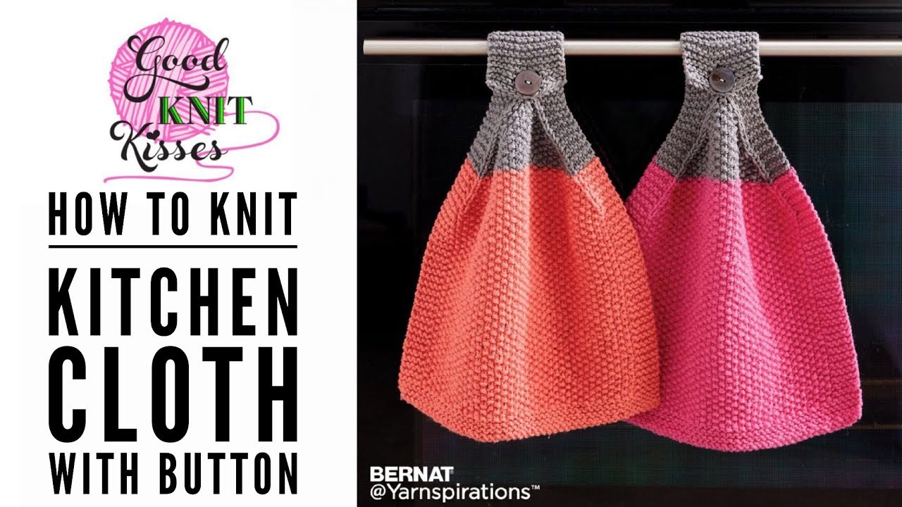 Knit Cloth with Button for your Oven (CC) - YouTube