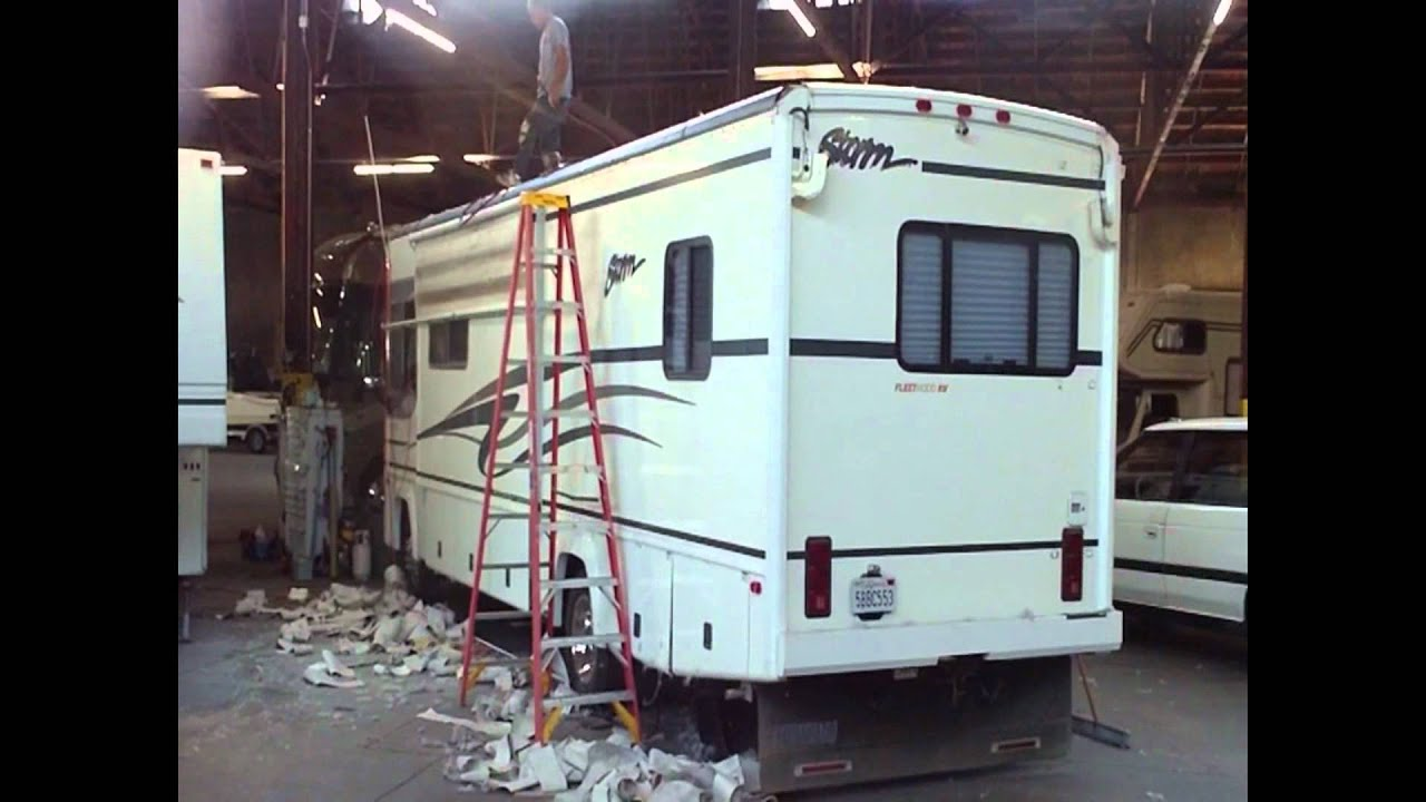 motor home rv roof replacement how to at leale s rv service rv