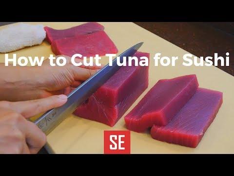 How to Cut Tuna Loin for Sushi ( 金枪鱼寿司)