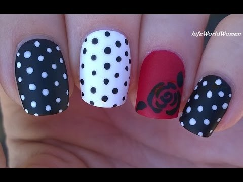 Black & White Matte Nail Art With Polka Dot & Rose Design