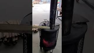 스테인레스연통 화목난로 연통에 나무 불붙이기