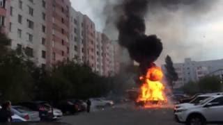 ВЗРЫВ автомобиля Лада Приора г. Новый Уренгой 09.08.2016