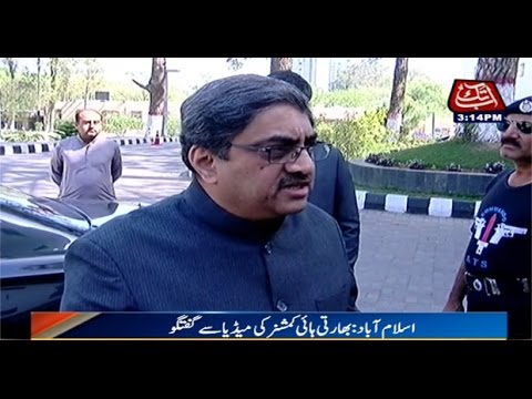 Indian High Commissioner to Pakistan Goutam Bombawale talks to media